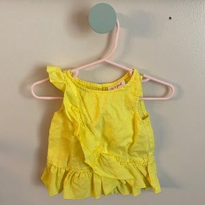 Baby Girls Yellow Ruffle Trim Sleeveless Top